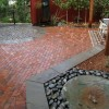 native birches and water feature in outdoor room in Minneapolis