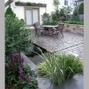 lush water plantings in deep koi pond water feature