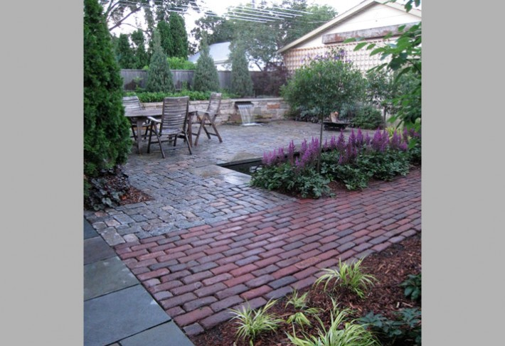 reclaimed pavers in modern landscape design